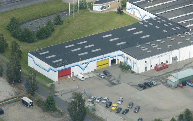 Air photo of PowerCon's facillity in Hadsund Denmark